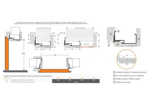 Obklad kovovej zárubne ORS5 tabuľka rozmerov